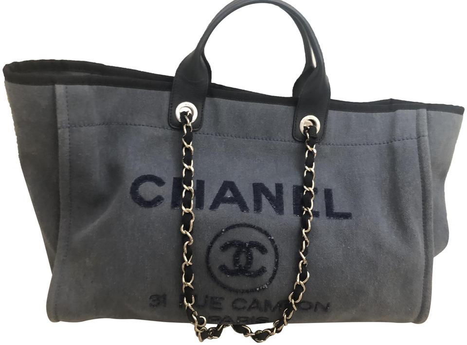 036a5dfeff67 Chanel Deauville Large Sequin Blue Canvas Tote - Tradesy