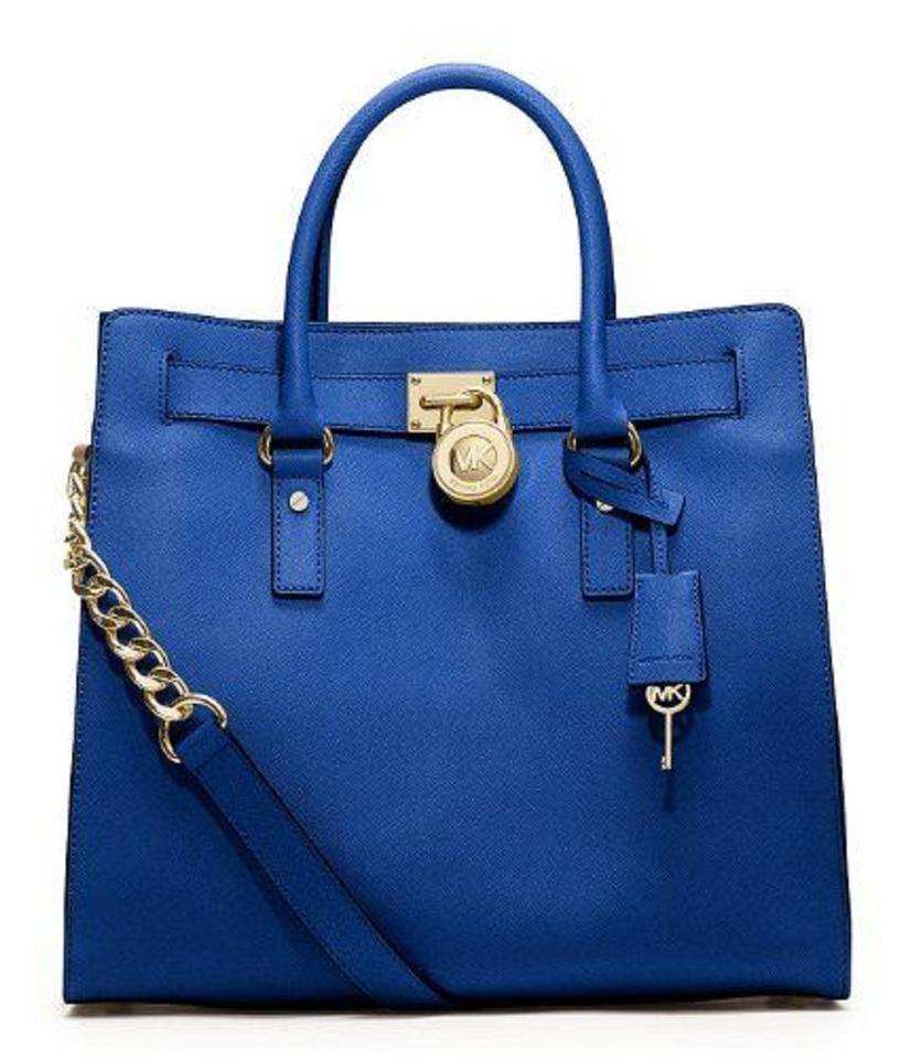 7125f17360a4 MICHAEL Michael Kors Hamilton North South Ns Large (In Plastic) Sapphire  (Blue) Saffiano Leather Tote