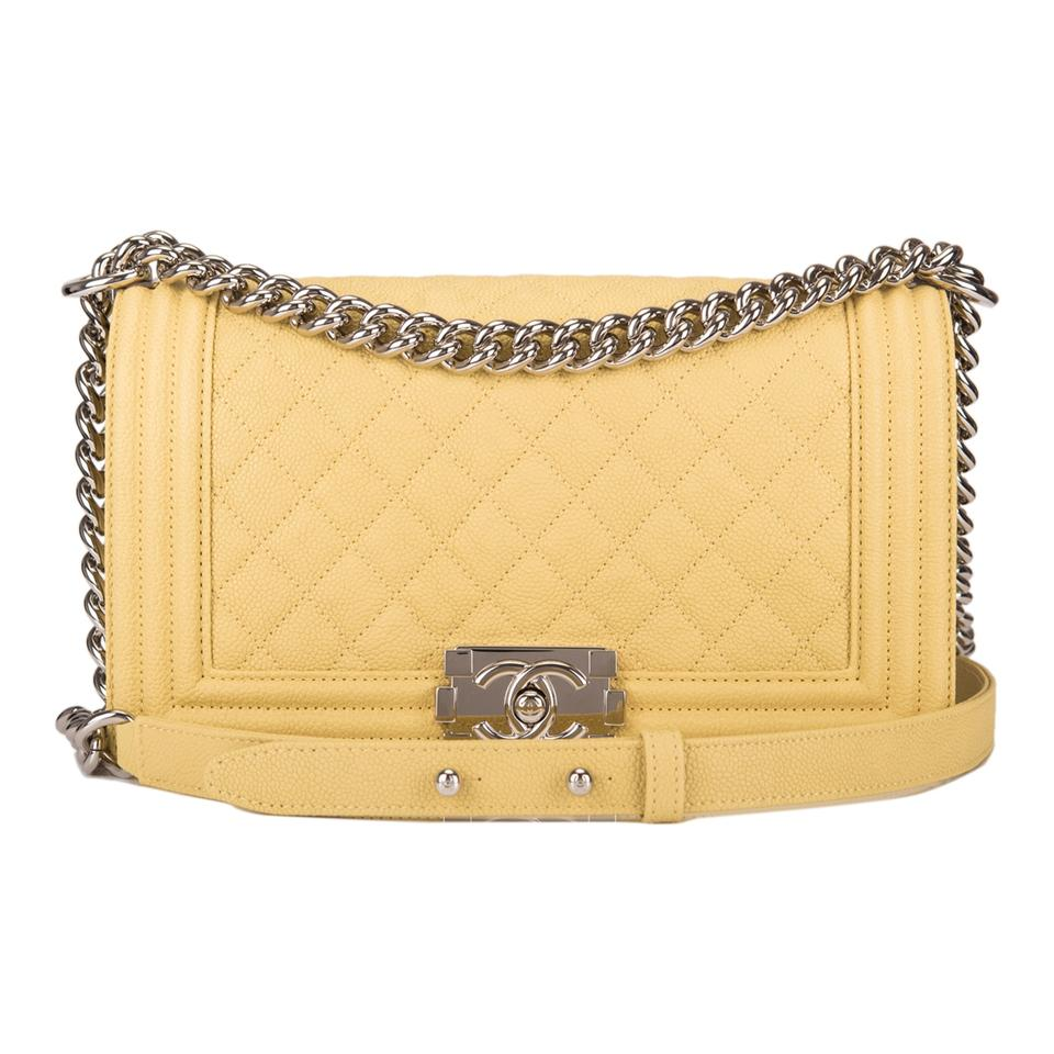 72b12f3fdf0d Chanel Boy Quilted Caviar Medium Yellow Leather Shoulder Bag - Tradesy