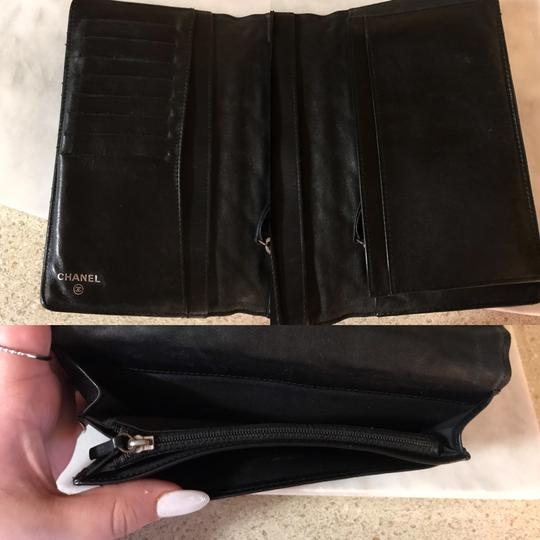 Chanel Black Patent Leather Diamond Quilted Large Continental Wallet / Clutch Image 7