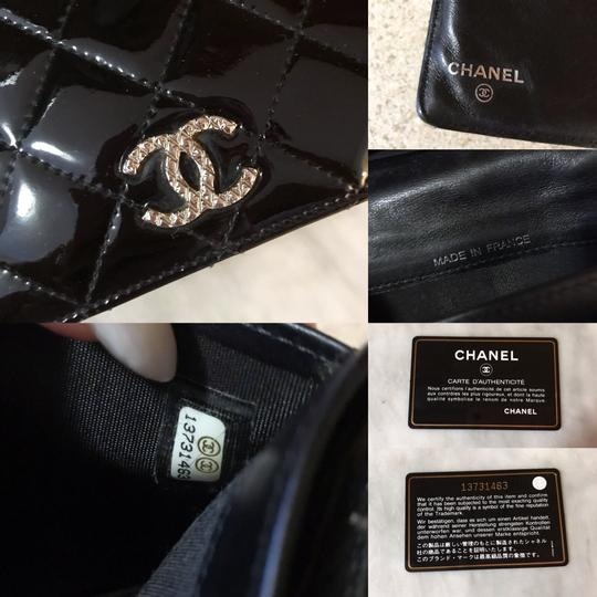 Chanel Black Patent Leather Diamond Quilted Large Continental Wallet / Clutch Image 9