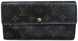 f8a467802abc Louis Vuitton Brown Vintage Accordion Long with Chain Ring Wallet ...