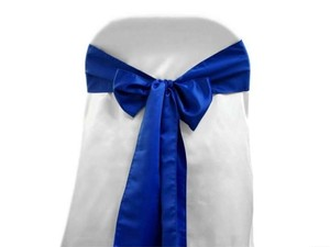 CeCe L'amour Royal Blue Satin Chair Sash (Qty 238) Ceremony Decoration