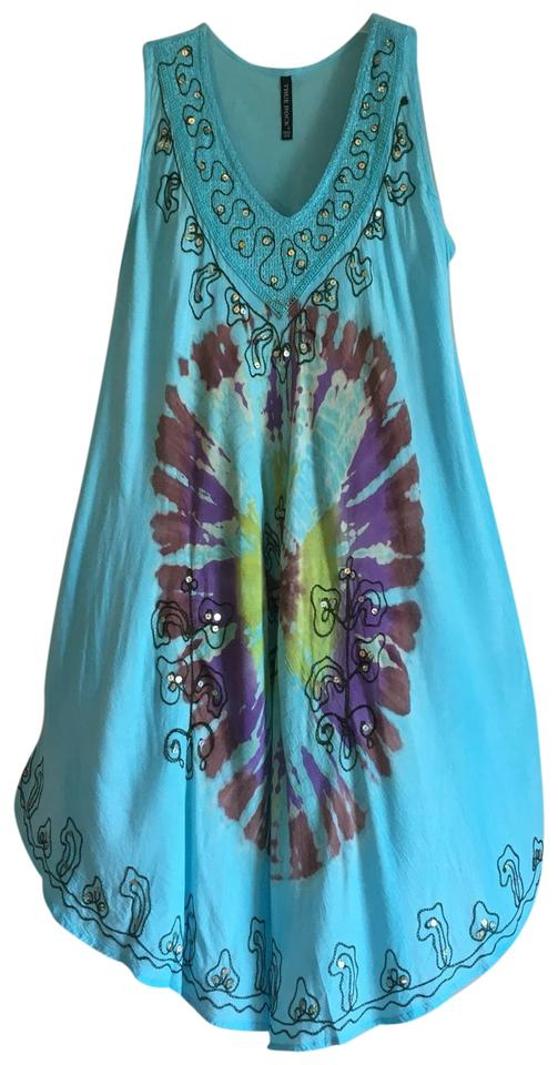 5cb8546ac1d1 Blue Black Tie Dye Oversized Embroidered Festival Tank Flowy Embellished  Oversized Loose V Handkerchief Uneven Casual Maxi Dress