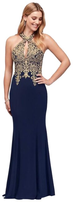 Item - Gold Tone - Navy Jersey Metalic Lace and Round Neck Halter Gown Long Formal Dress Size 4 (S)
