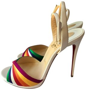 Christian Louboutin White with Multicolored straps Sandals