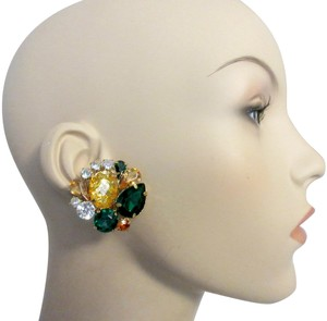 Scaasi Bling Clip Earrings Light Cluster Statement Signed