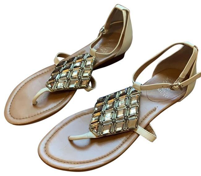 Item - White and Gold Small Wedge Sandals Size US 8 Regular (M, B)