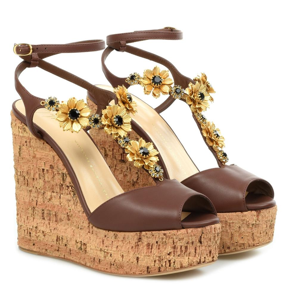 50117233270f Giuseppe Zanotti Brown Women s Cork Wedge Sandals. Size  EU 37.5 (Approx. US  7.5) Regular ...