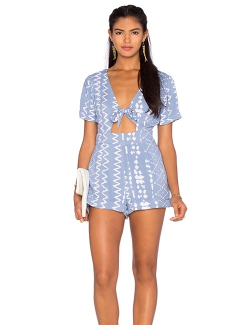 Item - Blue and White Chambray Cutout Romper/Jumpsuit