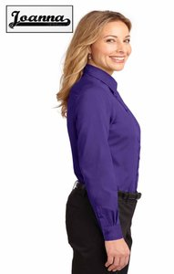 Joanna Fitted Silhouette Pointed Collar Front Flap Chest Pockets Fitted Seams Button Down Shirt Grape