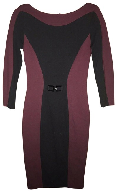 Item - Black Sheath Cocktail Burgundy Ponte Knit Long Sleeve Mid-length Formal Dress Size 2 (XS)