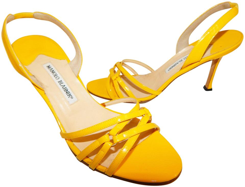 e5091d9d0f3df Manolo Blahnik Yellow Patent Leather Strappy Slingback Heels Sandals ...