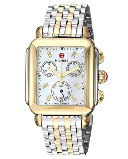 Michele Deco Two Tone Stainless Mother of Pearl Diamond Dial MWW06P000122 Image 4