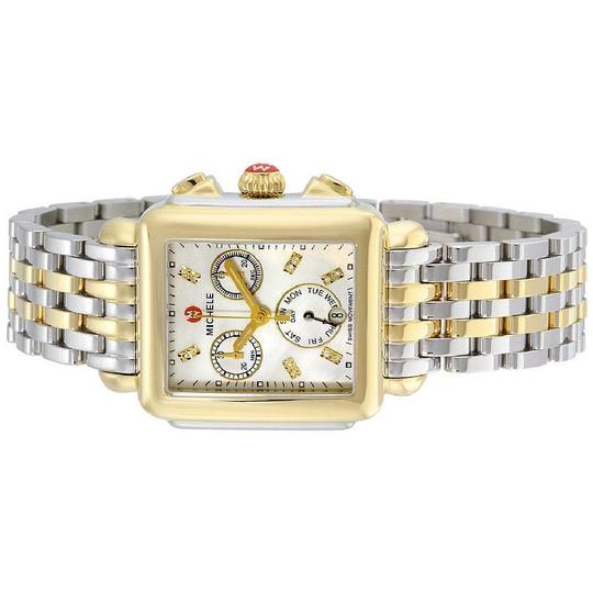 Michele Deco Two Tone Stainless Mother of Pearl Diamond Dial MWW06P000122 Image 5