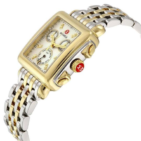 Michele Deco Two Tone Stainless Mother of Pearl Diamond Dial MWW06P000122 Image 6