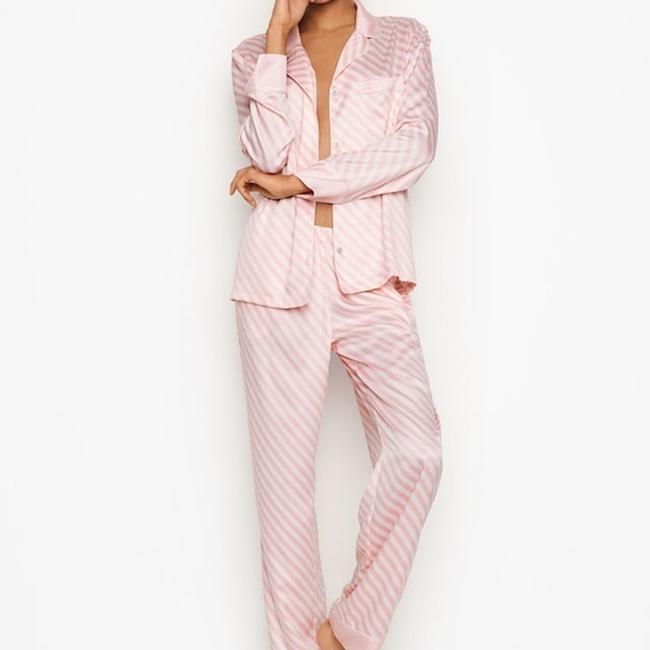 Victoria's Secret Lightweight Silky-soft Vs Embroidery Button Down Shirt PINK STRIPE Image 1