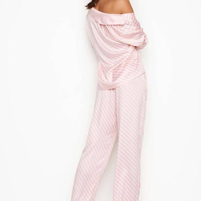 Victoria's Secret Lightweight Silky-soft Vs Embroidery Button Down Shirt PINK STRIPE Image 3