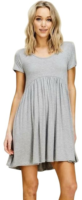 Item - Heather Grey Mid-length Short Casual Dress Size 4 (S)