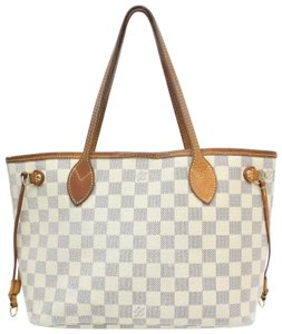Louis Vuitton N51110 Neverfull Pm Lv Damier Azur Lv Tote in White
