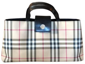 Burberry London Coated Canvas Satchel in Signature Nova Check Pattern with Black Leather