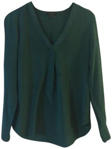 J.Crew Silk E2750 Holiday Top Green