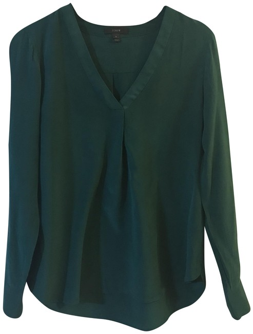 Preload https://img-static.tradesy.com/item/25292090/jcrew-green-silk-drapey-vneck-e2750-blouse-size-8-m-0-1-650-650.jpg