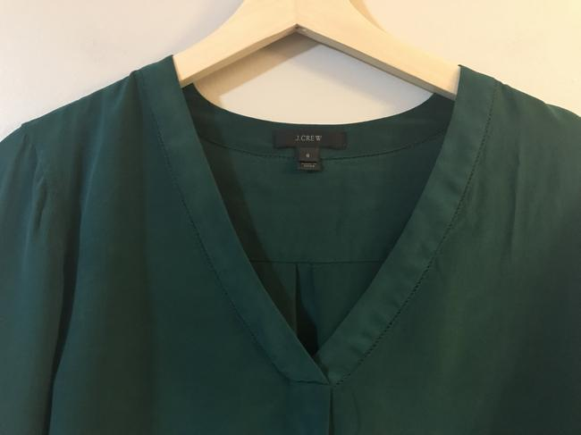 J.Crew Silk E2750 Holiday Top Green Image 1