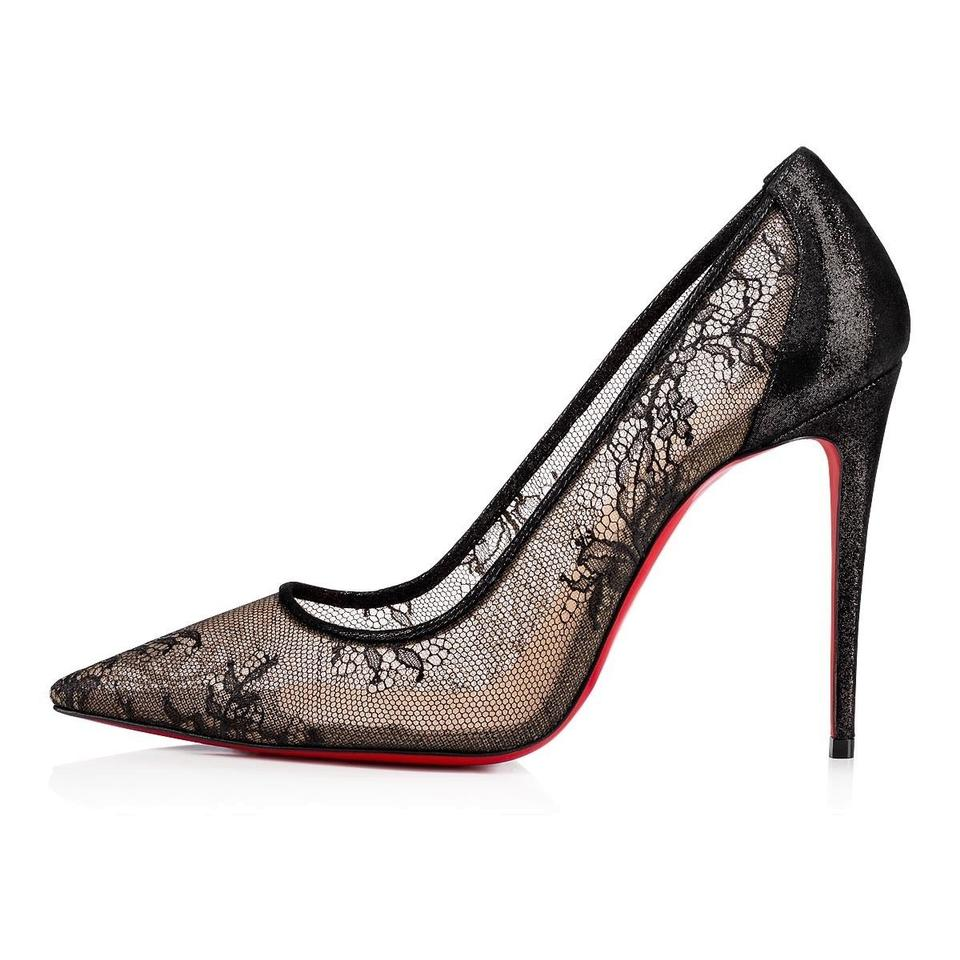 0424b150d67 Christian Louboutin Black Lace 554 100 Lace Mesh Suede Lame Stiletto  Pigalle Heel Pumps Size EU 40 (Approx. US 10) Regular (M, B)