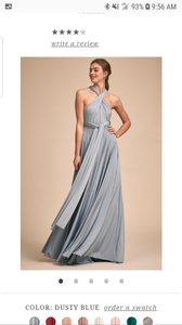 BHLDN Dusty Blue Jersey Ginger Convertible Modern Bridesmaid/Mob Dress Size 14 (L)