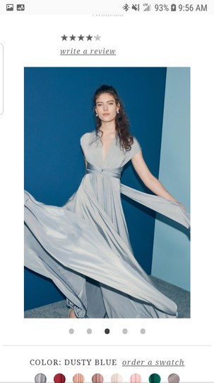 BHLDN Dusty Blue Jersey Ginger Convertible Modern Bridesmaid/Mob Dress Size 14 (L) Image 1