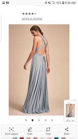 BHLDN Dusty Blue Jersey Ginger Convertible Modern Bridesmaid/Mob Dress Size 14 (L) Image 7