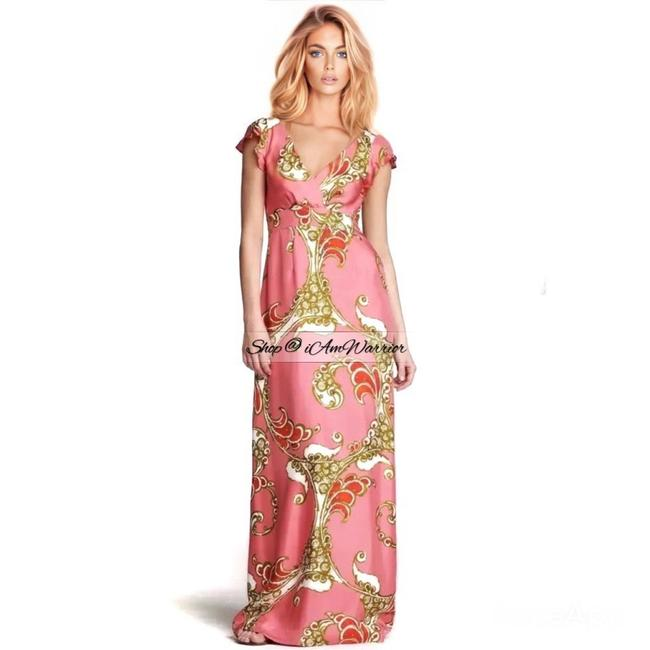 Item - Pink Multi Milla Collection Silk Print Gown Long Formal Dress Size 6 (S)