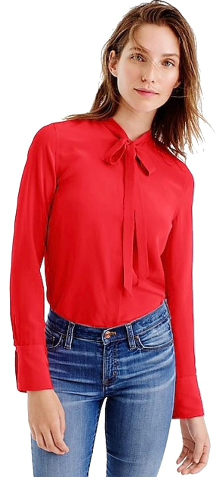 596020699 J.Crew Red Silk Tie Button Up Button-down Top Size 6 (S) - Tradesy