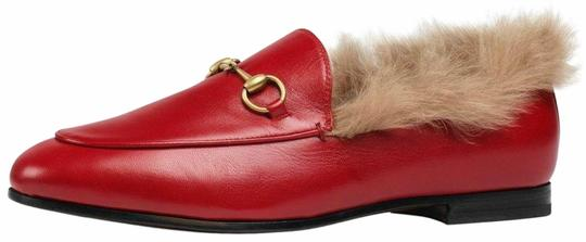 Preload https://img-static.tradesy.com/item/25292417/gucci-red-new-jordaan-leather-beige-fur-princetown-loafer-mule-slipper-flats-size-eu-365-approx-us-6-0-1-540-540.jpg