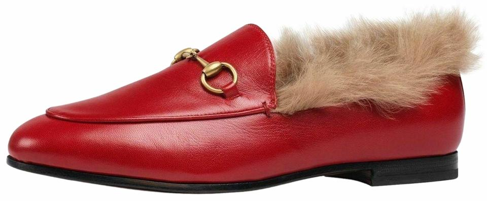 068911adf Gucci Red New Jordaan Leather Beige Fur Princetown Loafer Mule Slipper Flats