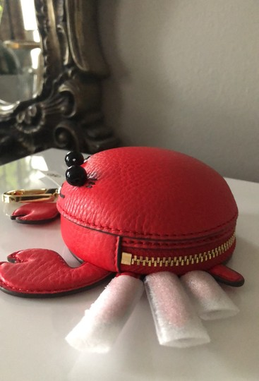 Tory Burch Red Carl The Crab Coin Purse Key Fob Wallet Image 7