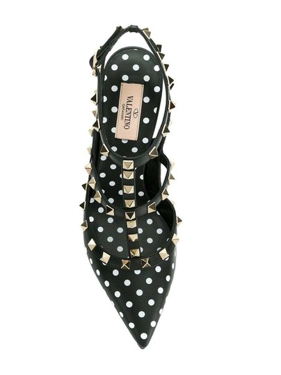 Valentino Studded Pointed Toe Ankle Strap Stiletto Classic Black Pumps Image 6