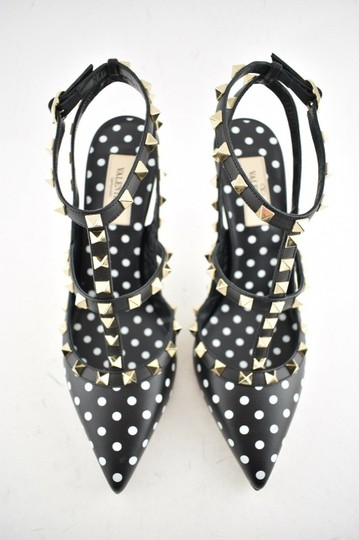 Valentino Studded Pointed Toe Ankle Strap Stiletto Classic Black Pumps Image 7
