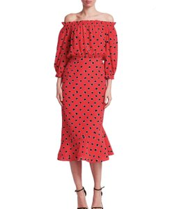 Red, Black Polka Dots Maxi Dress by SALONI
