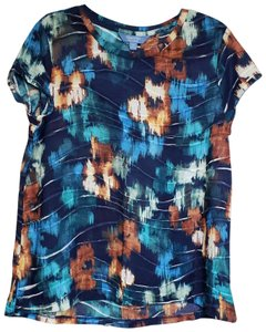 7298f7d20ae Simply Vera Vera Wang Polyester Floral T Shirt Blue/Orange
