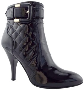 Burberry Belt Round Toe Diamond Heels Buckled Black Boots