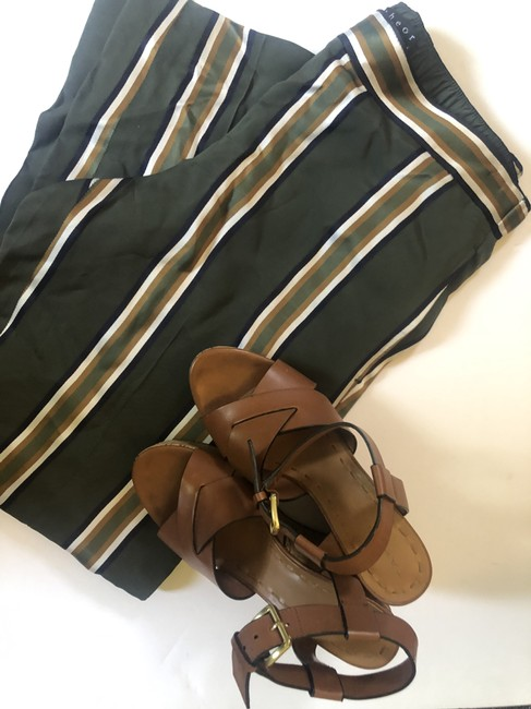 Theory Casual Striped Baggy Pants Olive Green Image 1