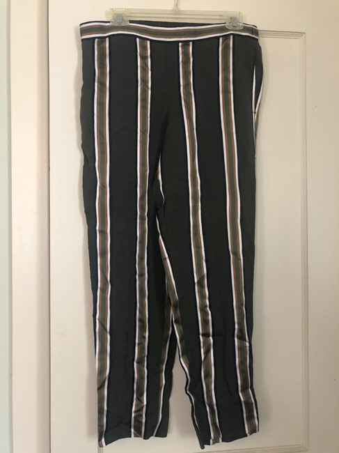 Theory Casual Striped Baggy Pants Olive Green Image 2