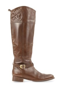 Tory Burch Leather Gold Hardware Brown Boots
