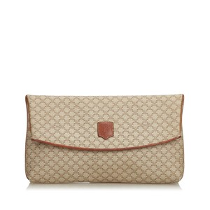 Céline 9ccecl004 Vintage Plastic Leather Brown Clutch