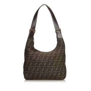 Fendi 9cfnho009 Vintage Canvas Leather Hobo Bag