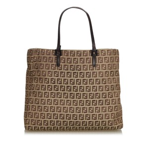 dc896193e6f2 Fendi 9cfnto034 Vintage Canvas Leather Tote in Brown