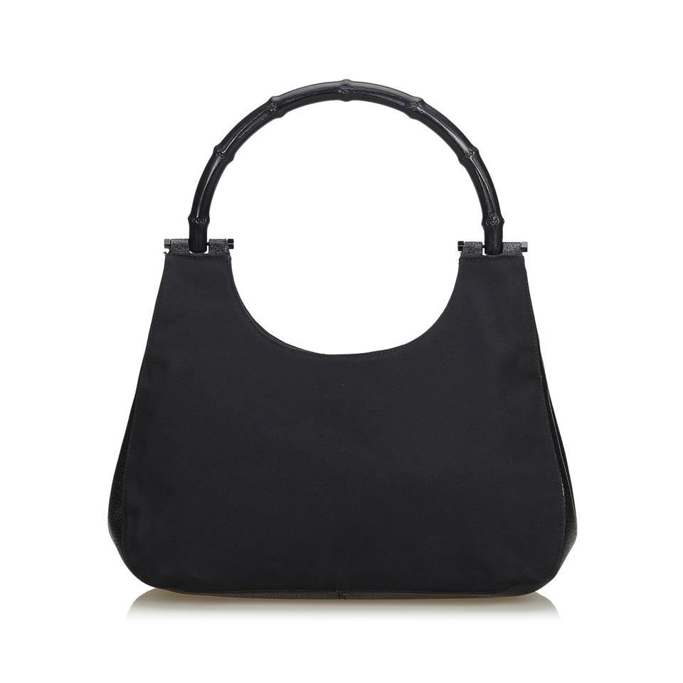 f9a6f617 Gucci Fabric Bamboo Handbag Italy W Dust Black Canvas Leather Shoulder Bag  38% off retail