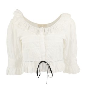 LoveShackFancy Lace Floral Ruffle Top White